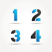 1234 3d blue stencil numbers