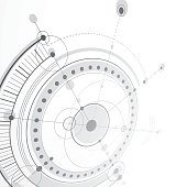 3d engineering technology vector backdrop. Futuristic technical plan, mechanism. Monochrome mechanical scheme, dimensional abstract industrial design can be used as website background.