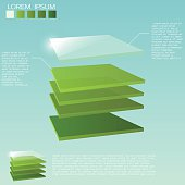 Five 3D square layers in green colors with transparent upper layer.