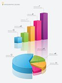 3d pie chart graph,3d graph.Vector illustration