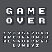 3d pixel video game 8 bit font. Poster typeface with shadow 3d effect. Set of retro style latin capital letters and numbers. Vector illustration font.