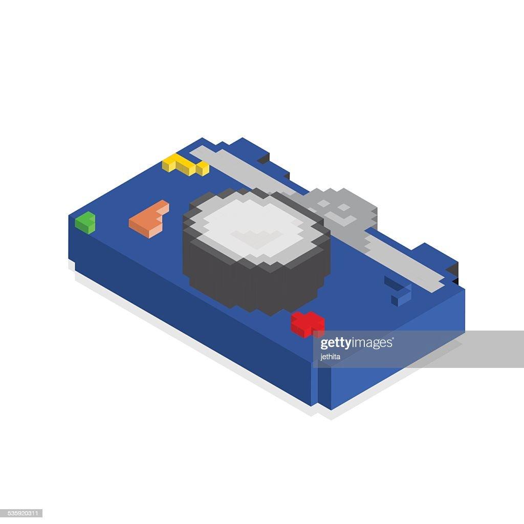 3d pixels camera blue color : Vector Art