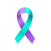 Realistic purple blue ribbon for Suicide Prevention Awareness isolated on white background. Double colour type medical banner. Vector illustration EPS 10 file.