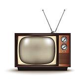 3d realistic retro TV.Vintage.Vector illustration