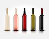 3d realistic vector isolated wine bottles without labels for your design and icon. Mockup for presentation of your product