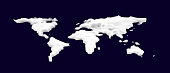 3d Snow world map. Cosmetic foam or cream or slime in the shape of a world map. Vector illustration isolated on dark blue background