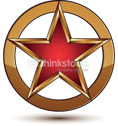 3d Stylish Vector Template With Pentagonal Red Star Symbol Vector