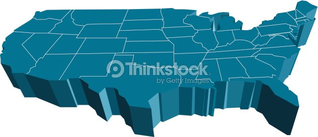 3d usa map vector art