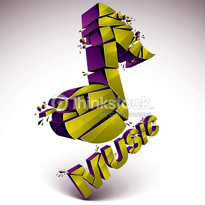 3d vector green shattered musical notes with music word art vector art