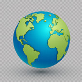 3d world map globe. Three-dimensional spherical model of Earth with land surface to navigate and explore geographic data