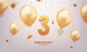 3rd Year anniversary celebration background. 3D Golden number with confetti and balloons.