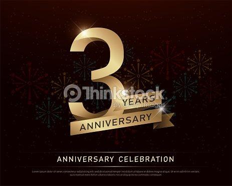 3 Anos Aniversario Celebracion Oro Numero Y Cintas Doradas Con