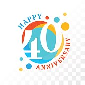 40th Anniversary emblem. Vector  template for anniversary, birthday and jubilee