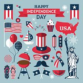 4th of July, Independence Day of the United States, flat modern icons for design