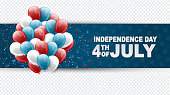4th of July United States national Independence Day celebration banner on a transparent background with blue, red, and white balloons for a website header or advertisement print.