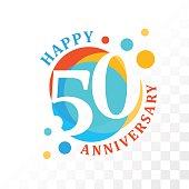 50th Anniversary emblem. Vector  template for anniversary, birthday and jubilee