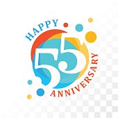 55th Anniversary emblem. Vector  template for anniversary, birthday and jubilee