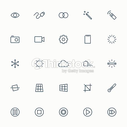 5x5 minimal line camera and video icons stock vector for Camera minimal