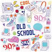 Set of 80s - 90s doodle hand drawing objects on paper.