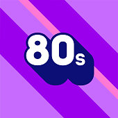 80s icon design. 1980s sign with long shadow. Number ninety. Vector element