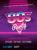 80s party retro flyer design vector illustration