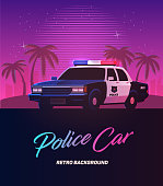 80s retro neon gradient background. Vintage police car. Palms and city. Tv glitch effect. Sci-fi beach