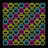 8-Bit Pixel Retro Rainbow Character Pattern. EPS8 Vector. Each coloured assets is on a separate layer, and left as separate vector squares for easy manipulation. No transparency - the glows are stroke