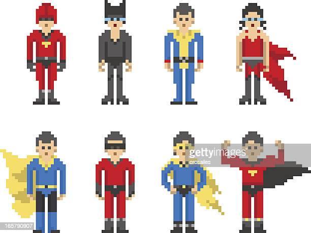 8-bit Pixel Super Hero Characters