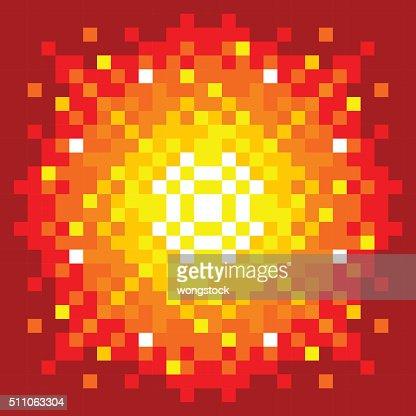 8-Bit Pixel-art Firey Explosion : Vector Art