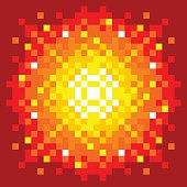 Arcade game style explosion on a red background. EPS8 vector with each square 'pixel' as its own shape.