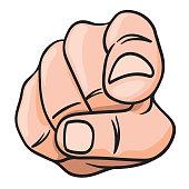 concept du choix avec le dessin d'une main vue de face, qui pointe le doigt vers quelque chose pour le désigner.