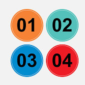 a set of circular buttons, one, two, three, four, character sequences, load signs consistent, fully edit vector image