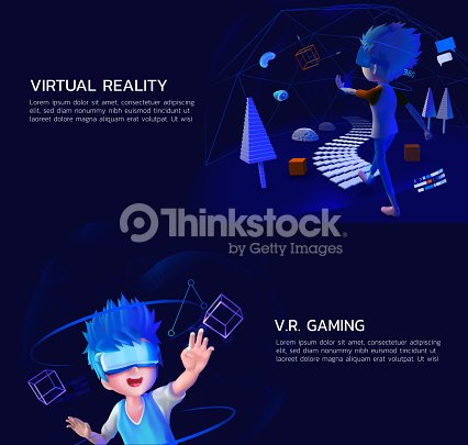 Un Juego De Realidad Virtual Vr Juegos 3d Arte Vectorial Thinkstock