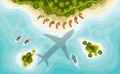 Airplane over tropical islands, top view. Beach, island, boats view from above