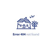 Error 404 page not found concept, abandoned old house with boarded up windows and door, forgotten home, neglected building, creepy place, decayed cottage, vector line design