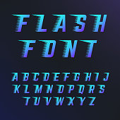 Abc letters with speed lines effects. Vector font fits to fast motion. Dynamic typography alphabet lettering illustration