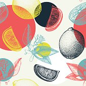 Vector seamless pattern with ink hand drawn lime fruit, flowers, slice and leaves sketch.