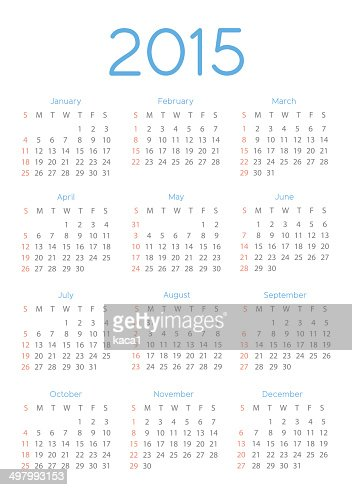 Abstract 2015 Calendar Template - Illustration : Vector Art