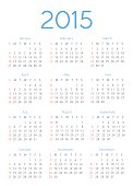 Simple european 2015 year vector calendars. EPS10