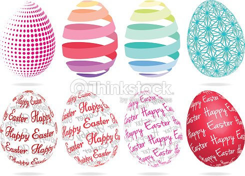 Abstract 3D Easter Eggs Vector Art