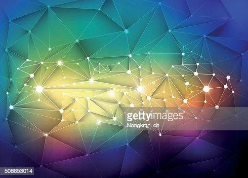 Abstract 3D Geometric, Polygonal, Triangle pattern in molecule : Vector Art