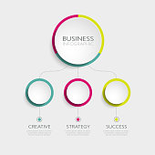 Abstract 3D Infographic Template with 3 steps for success. Business circle template with options for brochure, diagram, workflow, timeline, web design. Vector EPS 10