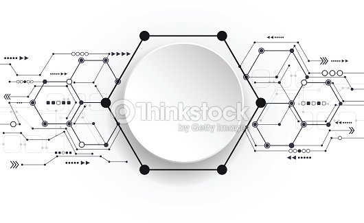 Abstract 3d Paper Circle Label With Circuit Board Vector Art ...