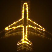 Airplane, Neon, Dot, Abstract, transparency, glow, travel