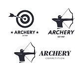 Abstract archery. Vector badge concept. Archer with sport bow and target with arrow. Archery competition