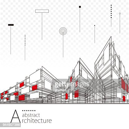 Abstract Architectural Drawing Background : Vector Art