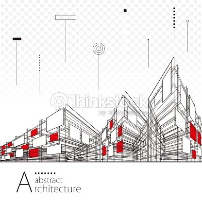 Abstract Architectural Drawing Background : arte vetorial
