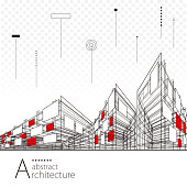 Architecture creative city building perspective lines, modern urban architecture abstract background.