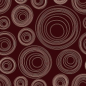 Abstract asymmetrical circles seamless pattern. Australian aboriginal ornament. Aboriginal painting style. Doodle sketch style. Minimalistic graphic print. Vector linear color illustration.