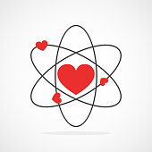 Atom with electrons in heart shape in flat design. Vector illustration. Symbol of the molecule or atom, isolated.